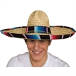 Straw Sombrero With Serape Band - Straw sombrero. Packed 100 pieces per carton. Must be ordered in carton packs. Blank