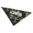 "Camouflage Patterned Pet Bandana - Triangular shaped, polyester-cotton pet bandana measuring 22"" x 22"" x 29 and featuring a camouflage pattern."