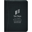 Executive Stitched PVC Standard Size Padfolio - Executive stitched PVC padfolio with inside flap pocket, elastic pen loop, business card pockets and lined paper pad.