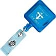 "Square Retractable Badge Holder - Square shaped badge holder with 30"" long retractable nylon cord and swivel alligator clip on back."
