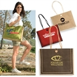 Milan Jute Tote - Jute tote bag with cotton rope handles, button loop closure.
