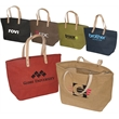 Hamptons Jute Tote - Laminated natural jute fabric tote bag.