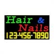 Neon Sign with Phone # - Hair & Nails - Neon Sign with Phone # - Hair & Nails.