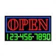 Neon Sign with Phone # - Open - Neon Sign with Phone # - Open.