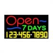 Neon Sign with Phone # - Open 7 Days - Neon Sign with Phone # - Open 7 Days.