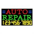 Neon Sign with Phone # - Auto Repair - Neon Sign with Phone # - Auto Repair.