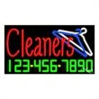 Neon Sign with Phone # - Cleaners - Neon Sign with Phone # - Cleaners.