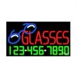Neon Sign with Phone # - Glasses - Neon Sign with Phone # - Glasses.