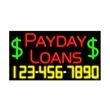 Neon Sign with Phone # - Payday Loans - Neon Sign with Phone # - Payday Loans.