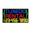 Neon Sign with Phone # - Tuxedo Rental - Neon Sign with Phone # - Tuxedo Rental.