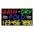 Neon Sign with Phone # - Wash Dry Fold - Neon Sign with Phone # - Wash Dry Fold.