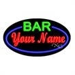 Oval Animated Neon Sign w/ Custom Lettering- Bar with Border - Oval Animated Neon Sign with Custom Lettering - Bar with Border.