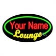 Oval Animated Neon Sign - Lounge with Border - Oval Animated Neon Sign with Custom Lettering -  Lounge with Border.