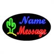 Oval Animated Neon Sign with Custom Lettering - Cactus - Oval Animated Neon Sign with Custom Lettering - Cactus.