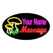 Oval Animated Neon Sign with Custom Lettering - Mushrooms - Oval Animated Neon Sign with Custom Lettering - Mushrooms.