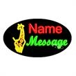 Oval Animated Neon Sign with Custom Lettering - Giraffe - Oval Animated Neon Sign with Custom Lettering - Giraffe.