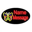 Oval Animated Neon Sign with Custom Lettering - Butterfly - Oval Animated Neon Sign with Custom Lettering - Butterfly.