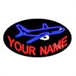 Oval Animated Neon Sign with Custom Lettering -  Airplane - Oval Animated Neon Sign with Custom Lettering -  Airplane.