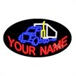 Oval Animated Neon Sign with Custom Lettering - Truck - Oval Animated Neon Sign with Custom Lettering - Truck.