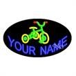 Oval Animated Neon Sign - Tricycle - Oval Animated Neon Sign with Custom Lettering - Tricycle.