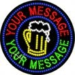 LED Sign with Custom Lettering - Round - Beer - LED Sign with Custom Lettering - Round - Beer.