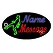 Oval Animated LED Sign with Custom Lettering - Soccer - Oval Animated LED Sign with Custom Lettering - Soccer.