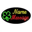 Oval Animated LED Sign - 4 Leaf Clover - Oval Animated LED Sign with Custom Lettering - 4 Leaf Clover.