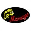 Oval Animated LED Sign - Fishing - Oval Animated LED Sign with Custom Lettering - Fishing.