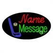 Oval Animated LED Sign with Custom Lettering - Hockey - Oval Animated LED Sign with Custom Lettering - Hockey.