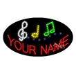 Oval Animated LED Sign with Custom Lettering - Music - Oval Animated LED Sign with Custom Lettering - Music.