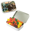 Large Hinged Candy Tin with Jelly Beans - Large hinged candy tin with jelly beans candy.