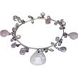 Sea Sparkle Bracelet - Silver filled bangle with rose quartz beads.,quartz and pearls beads.