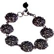 Steel Garden Bracelet - Make a statement in this gunmetal round charm bracelet with leaf for personalization