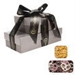The Cosmopolitan Gift Box Tower with Pretzels and Cashews - Cosmopolitan corporate gift box tower with chocolate covered pretzels and gourmet cashews nuts.