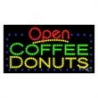 LED Sign with OPEN - Coffee Donuts - LED Sign with OPEN - Coffee Donuts.