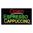 LED Sign with OPEN - Espresso Cappuccino - LED Sign with OPEN - Espresso Cappuccino.