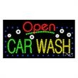 LED Sign with OPEN - Car Wash - LED Sign with OPEN - Car Wash.