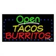 LED Sign with OPEN - Tacos Burritos - LED Sign with OPEN - Tacos Burritos.