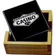 "Black Ceramic Tile and Bamboo Coaster Set - Black Ceramic Tile and Bamboo Coaster Set.  Coaster Holder:  4 3/4"" x 4 3/4"" x 2"", Coasters:  4"" x 4"" x 1/4""."