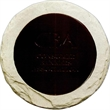 Rock'N Coaster - Cast stone with Bison Brown leather coaster.
