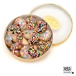 Wheel of 12 Dipped & Decorated Fortune Cookies - 12 delicious fortune cookies placed in gold acetate wheel shrink wrapped for quality