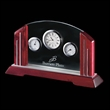 "Regency Clock (3 Face) - Rosewood 10"" - Piano finish rosewood clock with three faces and brushed aluminum accents."