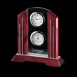 "Regency Clock (2 Face) - Rosewood 7 1/2"" - Piano finish rosewood clock with two faces and brushed aluminum accents."