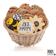 Bee Happy Cookie Gift Basket- 24pc - Baskets packed with our classic cookies and 3 of our famous hand-iced sugar cookies.