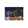 Waterfront Lights Greetings Card - Greetings card shows the NY City skyline as the city lights sparkle off Hudson River