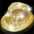 Gold Sequin LED Light Up Costume Fedora - Gold sequin LED Light Up Costume fedora, blank.