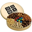 7-Way Nut Lover's Tin - Small gold tin filled with sweet honey-roasted peanuts, gourmet mixed nuts and more.