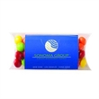 Pillow Case Container with Business Card Slot / Skittles® - Plastic pillow case container with business card slot and filled with Skittles® candies