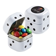 "Dice Tin with M&Ms® - 1.75"" x 1.75"" x 1.75"" black and white dice tin filled with 1.2 oz. of M&Ms®."