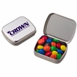 Small Hinged Tin With Chocolate Covered Candies - Candy coated chocolate candies in a small hinged tin.